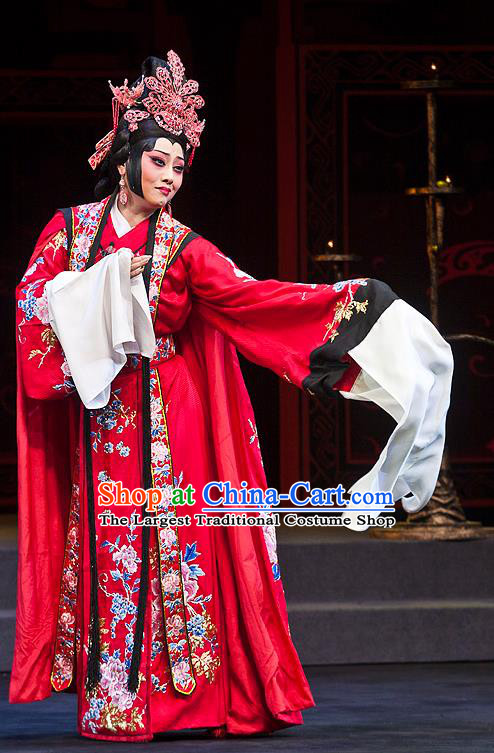 Chinese Beijing Opera Bride Cai Wenji Apparels Anecdote of Jian An Costumes and Headdress Traditional Peking Opera Hua Tan Red Dress Actress Wedding Garment