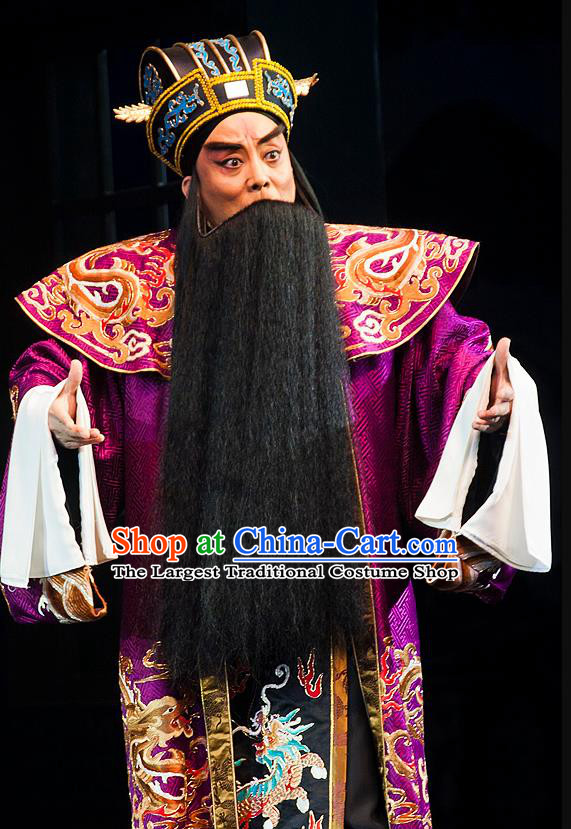 Anecdote of Jian An Chinese Peking Opera Prime Minister Cao Cao Garment Costumes and Headwear Beijing Opera Elderly Male Apparels Official Clothing