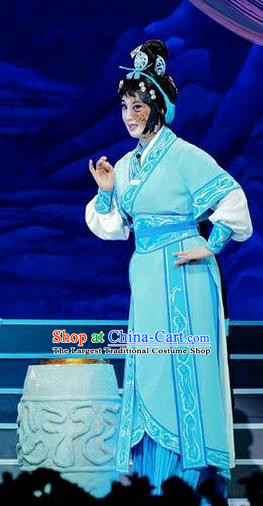 Chinese Beijing Opera Country Woman Apparels Qi Nv Wu Rong Costumes and Headdress Traditional Peking Opera Female Swordsman Blue Dress Garment