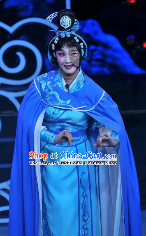 Chinese Beijing Opera Swordsman Apparels Qi Nv Wu Rong Costumes and Headdress Traditional Peking Opera Wudan Dress Martial Female Garment