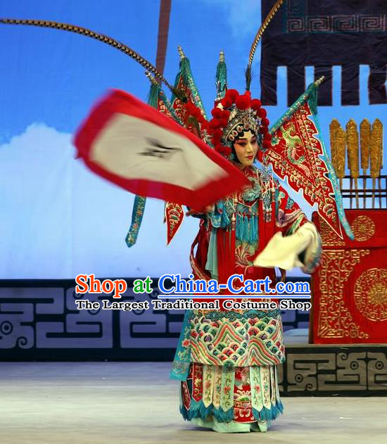 Chinese Beijing Opera Female General Mu Guiying Apparels Zhan Hong Zhou Costumes and Headdress Traditional Peking Opera Blues Dress Tao Ma Tan Garment