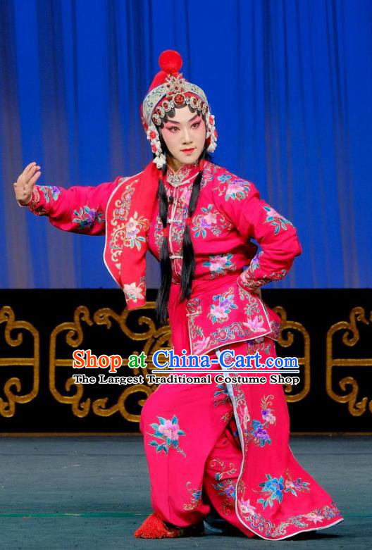 Chinese Beijing Opera Female Swordsman Apparels Gai Rong Zhan Fu Costumes and Headdress Traditional Peking Opera Martial Girl Dress Heroine Wan Xiangyou Garment
