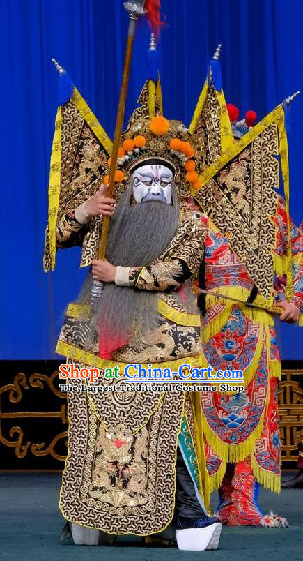 Gai Rong Zhan Fu Chinese Peking Opera General Armor Garment Costumes and Headwear Beijing Opera Kao Apparels Military Officer Han Rong Clothing with Flags