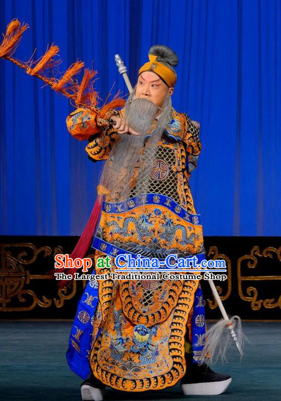 Gai Rong Zhan Fu Chinese Peking Opera General Garment Costumes and Headwear Beijing Opera Military Officer Wan Hongfei Apparels Armor Clothing