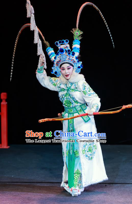 Chinese Beijing Opera Female Swordsman Apparels Chun Ri Yan Costumes and Headdress Traditional Peking Opera Martial Woman Dress Princess Yi Lan Garment