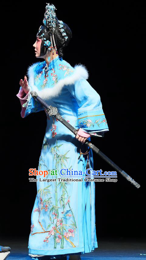 Chinese Beijing Opera Hua Tan Apparels Mei Hua Zan Costumes and Headdress Traditional Peking Opera Princess Blue Dress Actress Garment