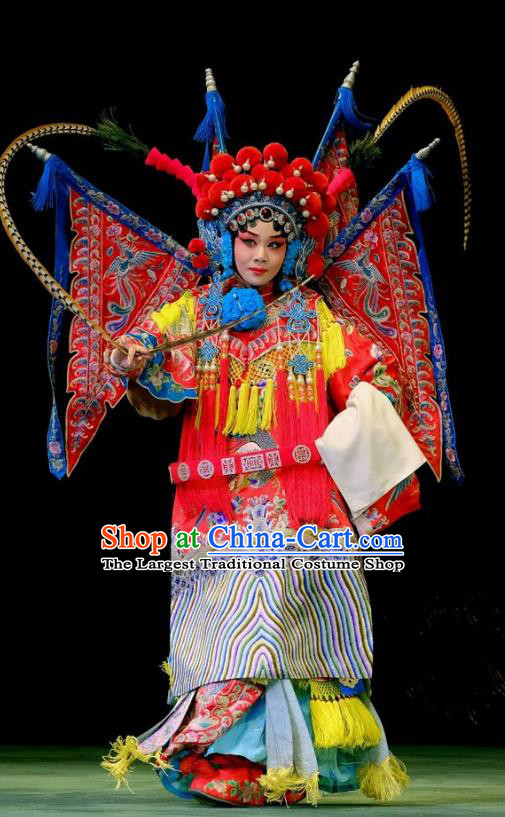 Chinese Beijing Opera Female General Apparels Fan Jiang Guan Costumes and Headdress Traditional Peking Opera Tao Ma Tan Red Dress Fan Lihua Armor Garment with Flags