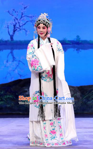 Chinese Beijing Opera Diva Bai Suzhen Apparels You Hu Costumes and Headdress Traditional Peking Opera Hua Tan Dress Young Female White Garment