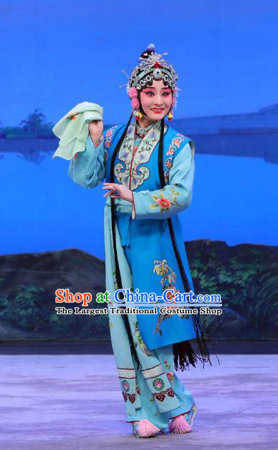 Chinese Beijing Opera Xiaodan Apparels You Hu Costumes and Headdress Traditional Peking Opera Young Lady Blue Dress Maidservant Xiao Qing Garment