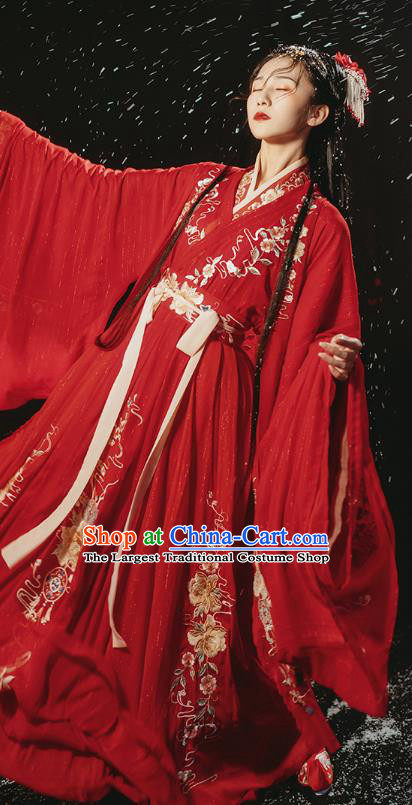 Traditional Chinese Ancient Royal Princess Embroidered Red Hanfu Dress Garment Jin Dynasty Wedding Historical Costumes Complete Set