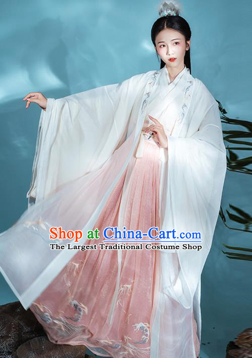 Chinese Traditional Jin Dynasty Court Princess Historical Costumes Goddess Garment Ancient Palace Lady Embroidered Hanfu Dress for Women