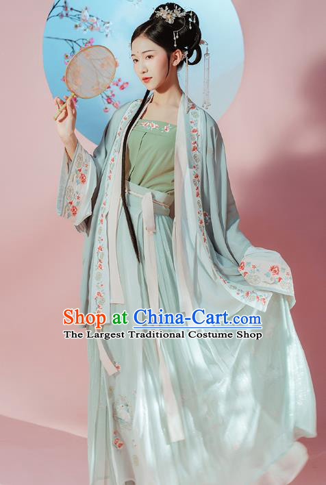 Chinese Traditional Song Dynasty Patrician Female Historical Costumes Ancient Young Lady Embroidered Hanfu Dress Garment Complete Set for Women