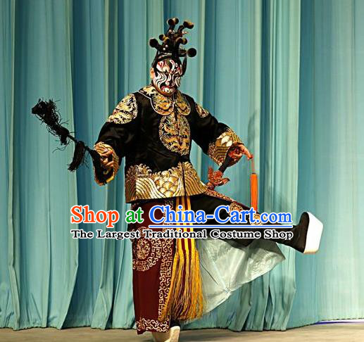 Shen Ting Ling Chinese Peking Opera Martial Male Apparels Costumes and Headpieces Beijing Opera Wusheng Garment General Clothing