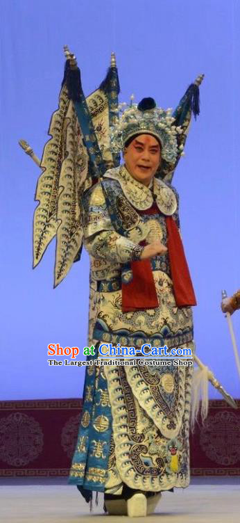 Shen Ting Ling Chinese Peking Opera Military Officer Apparels Costumes and Headpieces Beijing Opera Wusheng Garment General Sun Ce Kao Clothing with Flags