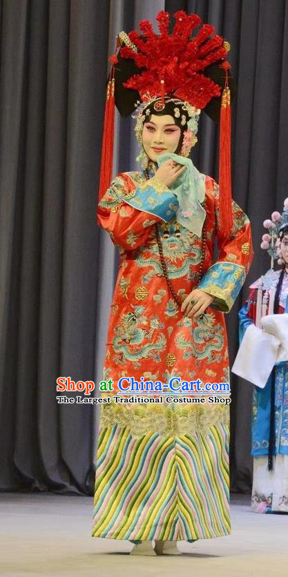 Chinese Beijing Opera Queen Garment Shen Ting Ling Costumes and Hair Accessories Traditional Peking Opera Court Lady Dress Hua Tan Apparels