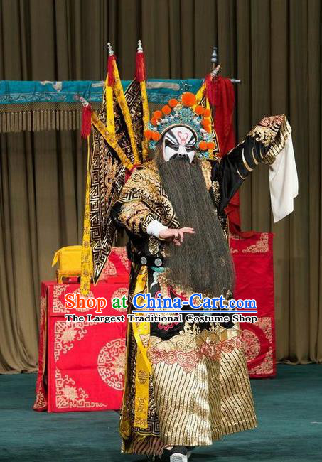 Shen Ting Ling Chinese Peking Opera General Kao Apparels Costumes and Headpieces Beijing Opera Wusheng Garment Military Officer Armor Clothing with Flags