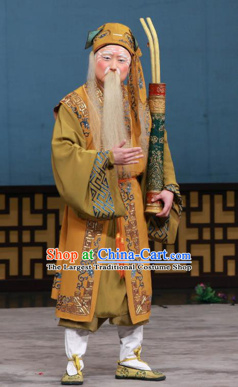 The Eight Immortals Crossing the Sea Chinese Peking Opera Apparels Costumes and Headpieces Beijing Opera Taoist Priest Zhang Guolao Garment Clothing