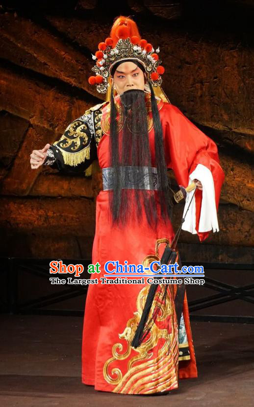 Wu Qi Chinese Peking Opera General Apparels Costumes and Headpieces Beijing Opera Martial Male Garment Military Officer Clothing