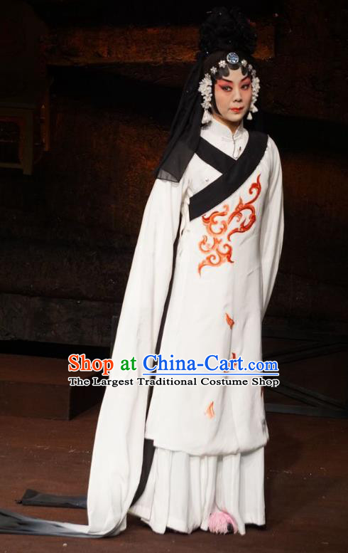 Chinese Beijing Opera Tsing Yi Garment Wu Qi Costumes and Hair Accessories Traditional Peking Opera Distress Maiden Dress Young Female Tian Jiang Apparels