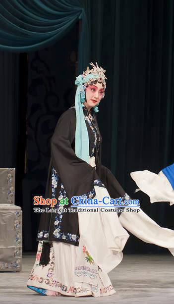 Chinese Beijing Opera Tsing Yi Garment Zhou Ren Xian Sao Costumes and Hair Accessories Traditional Peking Opera Actress Black Dress Diva Apparels