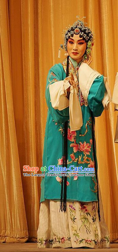 Chinese Beijing Opera Actress Garment Mu Yang Juan Costumes and Hair Accessories Traditional Peking Opera Young Female Dress Diva Apparels