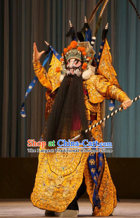 Mu Yang Juan Chinese Peking Opera General Huang Long Apparels Costumes and Headpieces Beijing Opera Wusheng Garment Armor Clothing with Flags