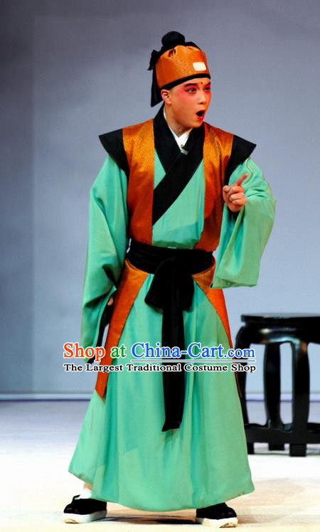 Tang Wan Chinese Peking Opera Young Man Apparels Costumes and Headpieces Beijing Opera Servant Green Garment Clothing
