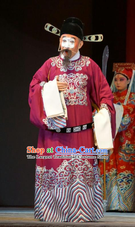 Legend of Xu Mu Chinese Peking Opera Chou Role Apparels Costumes and Headpieces Beijing Opera Clown Garment Official Cheng Yu Clothing