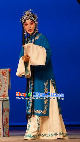Chinese Beijing Opera Young Female Garment Legend of Xu Mu Costumes and Hair Accessories Traditional Peking Opera Actress Blue Dress Apparels