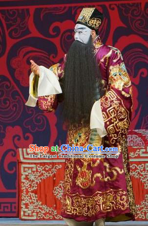 Legend of Xu Mu Chinese Peking Opera Chancellor Cao Cao Apparels Costumes and Headpieces Beijing Opera Painted Face Garment Elderly Male Clothing