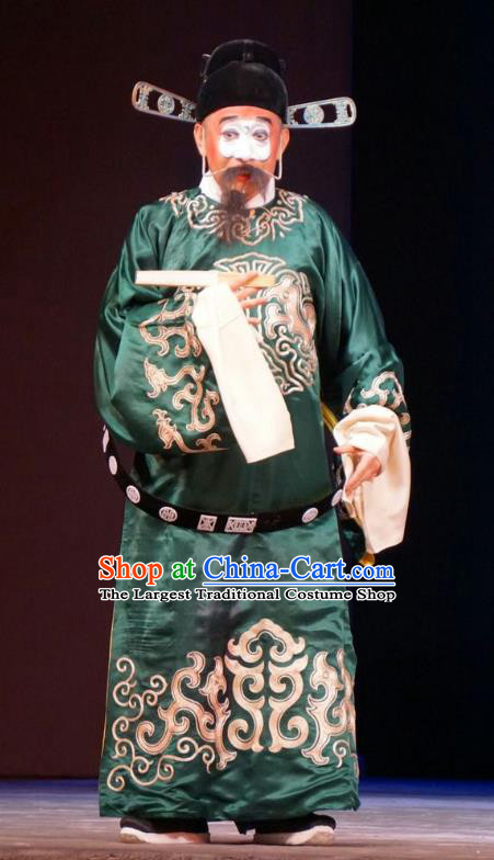 Legend of Xu Mu Chinese Peking Opera Minister Cheng Yu Apparels Costumes and Headpieces Beijing Opera Official Garment Clown Clothing