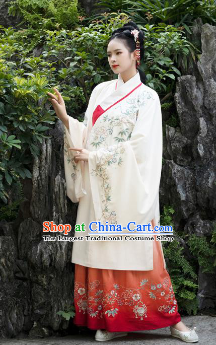 Traditional Chinese Ancient Patrician Lady Embroidered Hanfu Dress Garment Ming Dynasty Historical Costumes Long Blouse and Skirt for Women
