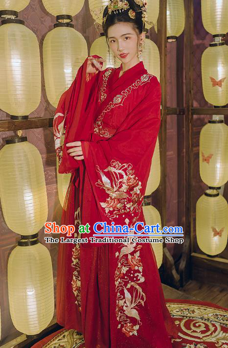 Traditional Chinese Wedding Embroidered Hanfu Dress Ancient Bride Garment Tang Dynasty Noble Princess Historical Costumes Complete Set