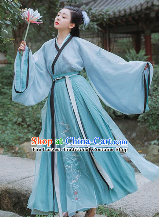 Chinese Traditional Jin Dynasty Embroidered Blue Hanfu Dress Garment Ancient Royal Princess Historical Costumes for Women