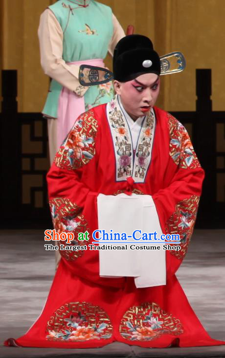 Jin Yunu Chinese Peking Opera Bridegroom Apparels Costumes and Headpieces Beijing Opera Young Male Garment Scholar Mo Ji Wedding Clothing