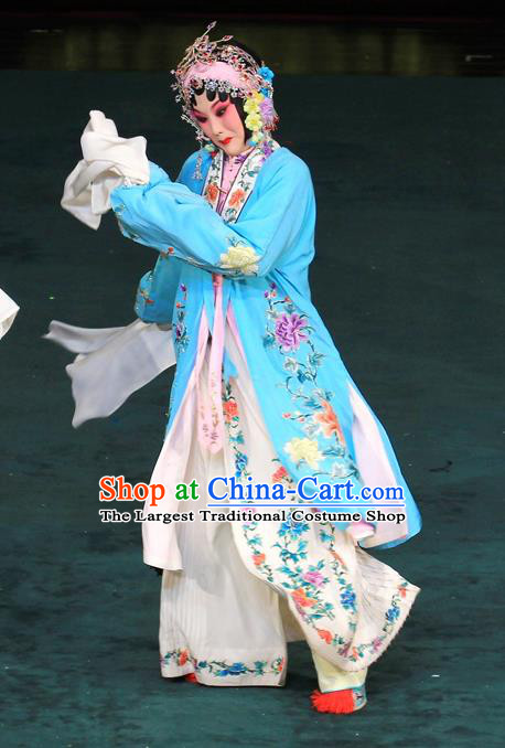Chinese Beijing Opera Diva Garment Costumes and Hair Accessories Traditional Peking Opera Hua Tan Dress Actress Jin Yunu Blue Apparels