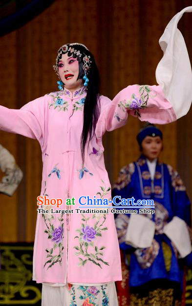 Chinese Beijing Opera Diva Jin Yunu Garment Costumes and Hair Accessories Traditional Peking Opera Hua Tan Dress Actress Pink Apparels
