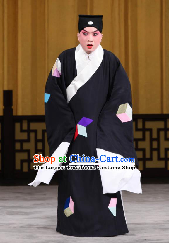 Jin Yunu Chinese Peking Opera Poor Scholar Mo Ji Apparels Costumes and Headpieces Beijing Opera Xiaosheng Garment Young Male Beggar Clothing