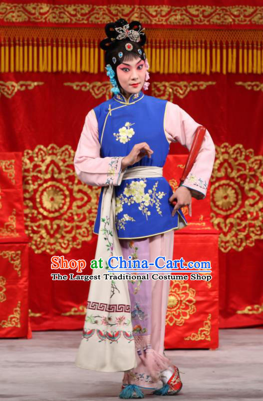 Chinese Beijing Opera Servant Girl Blue Garment Jin Yunu Costumes and Hair Accessories Traditional Peking Opera Xiaodan Dress Maid Lady Apparels