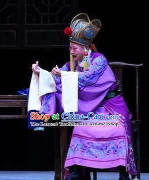 Xiang Lian Case Chinese Peking Opera Old Man Apparels Costumes and Headpieces Beijing Opera Court Eunuch Garment Clothing