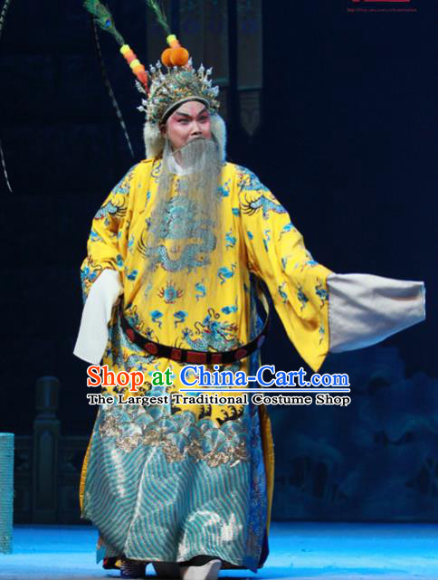 Chinese Peking Opera King Apparels Costumes and Headpieces Beijing Opera Elderly Male Garment Lord Wu Sangui Clothing
