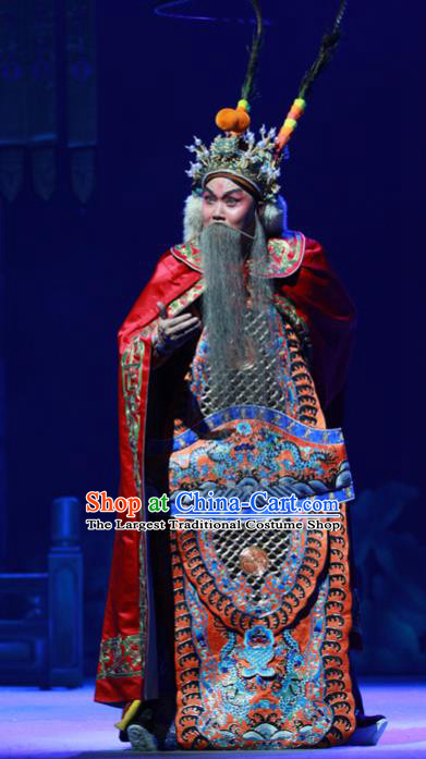 Chinese Peking Opera Lord Wu Sangui Apparels Costumes and Headpieces Beijing Opera Elderly Male Garment General Armor Clothing