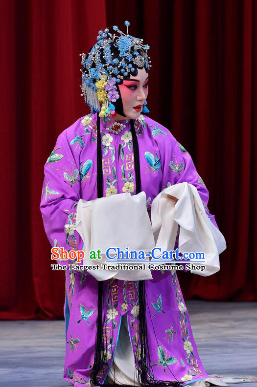 Chinese Beijing Opera Hua Tan Dou E Garment Snow in June Costumes and Hair Accessories Traditional Peking Opera Actress Purple Dress Young Female Apparels