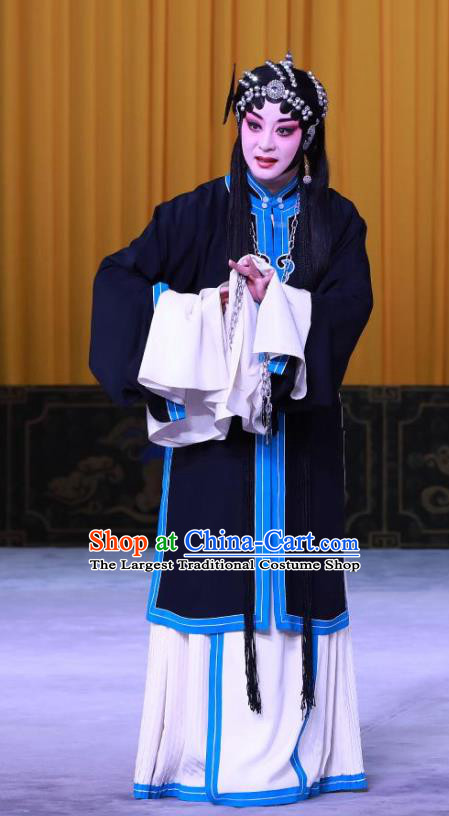 Chinese Beijing Opera Distress Maiden Dou E Garment Snow in June Costumes and Hair Accessories Traditional Peking Opera Actress Black Dress Apparels