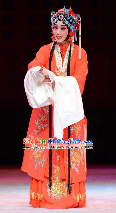 Chinese Ping Opera Diva Zhao Yanrong Apparels Costumes and Headpieces Yu Zhou Feng Traditional Pingju Opera Actress Red Dress Garment