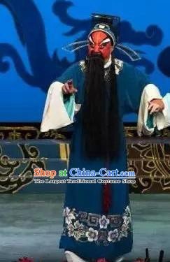 Hua Long Dian Jing Chinese Peking Opera Jing Apparels Costumes and Headpieces Beijing Opera Elderly Male Garment Official Clothing