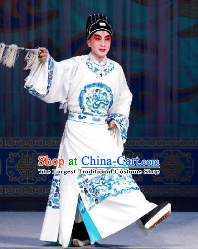 Hua Long Dian Jing Chinese Peking Opera Xiaosheng Apparels Costumes and Headpieces Beijing Opera Young Male Garment Scholar Ma Zhou Clothing