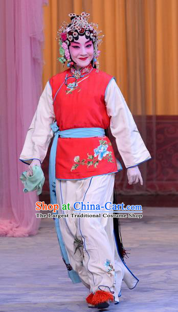 Chinese Beijing Opera Xiaodan Garment Costumes and Hair Accessories The Jade Hairpin Traditional Peking Opera Servant Girl Xiao Hui Dress Apparels