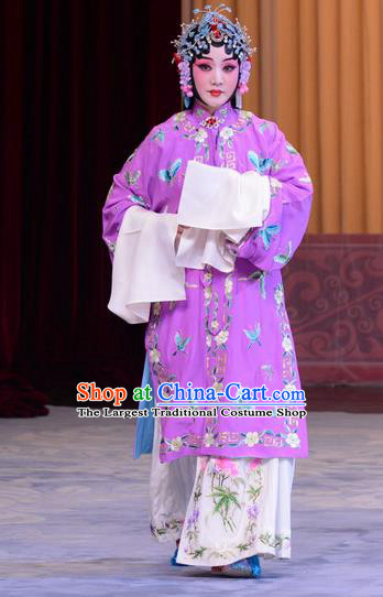 Chinese Beijing Opera Actress Garment Costumes and Hair Accessories The Jade Hairpin Traditional Peking Opera Hua Tan Zhang Youzhen Dress Diva Apparels