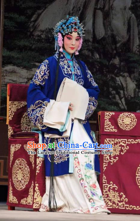 Chinese Beijing Opera Young Woman Garment Costumes and Hair Accessories The Jade Hairpin Traditional Peking Opera Actress Dress Diva Zhang Yuzhen Apparels